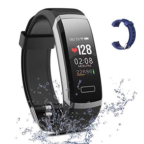 Salandens Smartwatch pulsera inteligente, pulsera impermeable para actividad física IP67 monitores de medición de actividad con pulsómetro, presión arterial, contador de calorías, monitor de sueño, podómetro, reloj. Ideal para hacer deporte. Rastreador GPS. Para el hombre o la mujer Fitness. Compatible con Android y iOS (Negro)