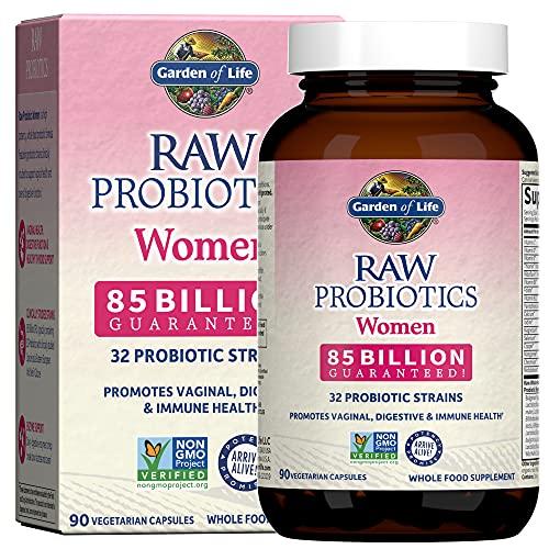 Garden of Life Probióticos crudos para mujeres – 85 mil millones de CFU probióticos vaginales con vitaminas, minerales, frutas, verduras y enzimas – 90 cápsulas, suplemento probiótico para mujer para salud digestiva e inmune