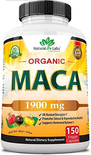 Raíz de Maca Orgánica de NaturaLife Labs   Suplemento   Negro, rojo, amarillo   Raíz de Maca Peruana gelatinizada 100%   1,900 mg   150 Cápsulas Veganas