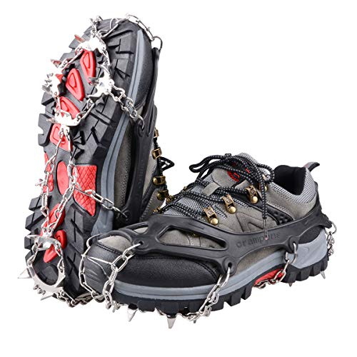 TRIWONDER Crampones de Nieve Hielo 18 Dientes de Acero Picos de Tracción Antideslizante Zapatos Botas para Senderismo Esquí Acampar (Negro, XL (W 11.5-14.5 / M 10-12.5))