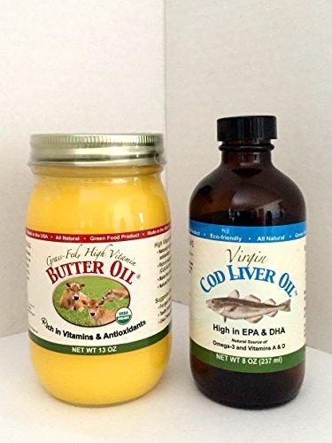 Aceite de mantequilla de alta vitamina (13 onzas) y aceite de hígado de bacalao virgen (8 onzas; sabor suave a limón y menta)