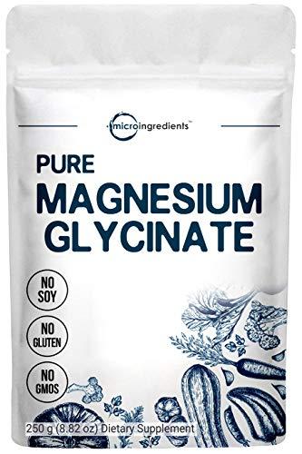 US Origin Polvo de glicinato de magnesio puro, 250 gramos, fuerte apoyo óseo, cardiovascular y salud muscular, sin OMG y vegano