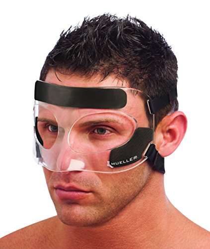 Mueller-Face Guardia Protección de impacto Lesiones en la nariz y la Cara, transparente, talla única