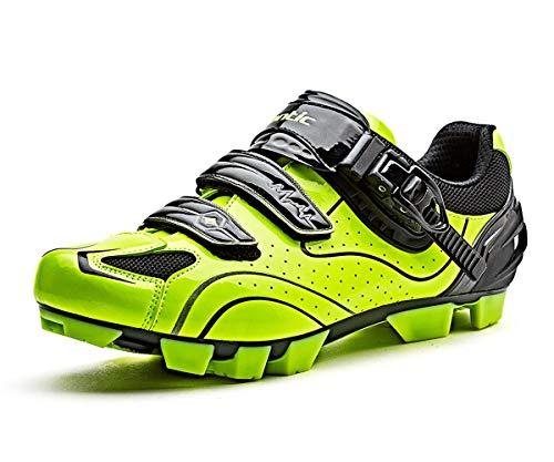 Santic MTB Zapatos De Bicicleta De Montaña Zapatos De Ciclismo Zapatos SPD Zapatos De Hombre Zapatos De Bicicleta, Verde-A, 10.5 US