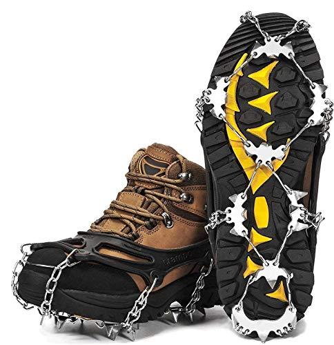 Wirezoll Crampones de acero inoxidable para botas de nieve y zapatos, agarre seguro para senderismo, pesca, senderismo, montañismo, etc.