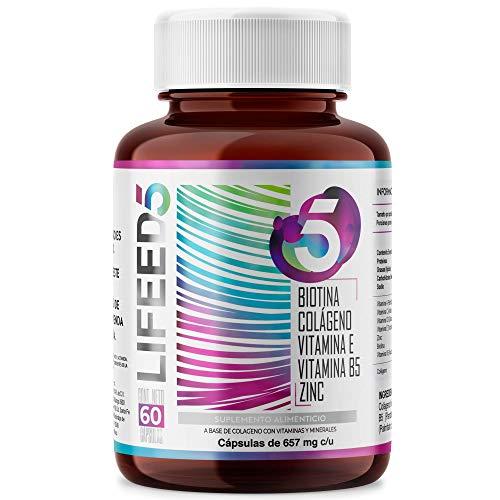 LIFEED HAIR NAILS Biotina Colageno Hidrolizado Zinc Vitaminas E D3 C y B5 | LF5 Para 60 Días | LIFEED5 Cabello Piel Uñas | Biotin