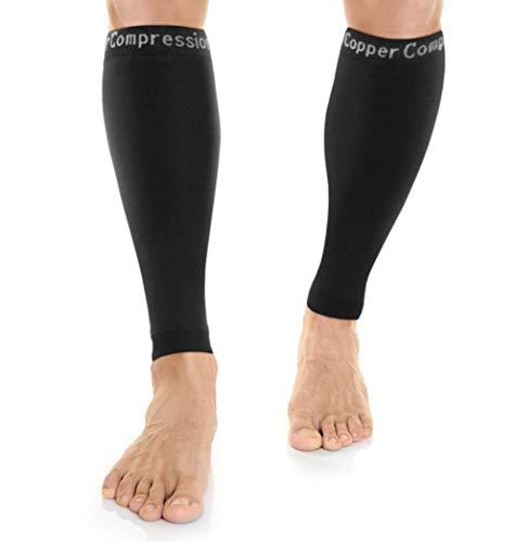 Mangas de compresión de cobre para recuperación de pantorrilla – Mangas de pierna para férula de espinilla. Mayor contenido de cobre y compresión graduada. Ideal para correr y deportes. Apoyo dolores musculares + articulaciones (1 par grande)