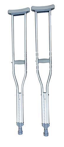 Juego de Muletas de Aluminio Premium Ajustables Reforzadas con Accesorios Importados. Soporta hasta 160 kilos. Super cómodas y ligeras. Auxiliar en rehabilitación. Tallas Ch, Mediana y G