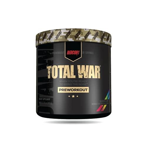 Redcon1 Total War – Pre entrenamiento, 30 porciones, impulsar la energía, aumentar la resistencia y el enfoque, beta-alanina, 350 mg de cafeína, citrulina malato, refuerzo de óxido nítrico – Keto Friendly (caramelo de arco iris)