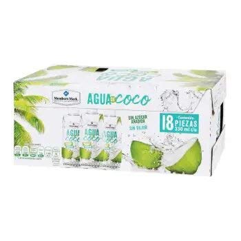 Agua de Coco. 18 piezas de 330 ml cada una. Sin Azucar. Sin Diluir