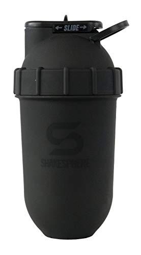 Vaso ShakeSphere: botella batidora de proteínas, 24 onzas ● Mezcla en forma de cápsula ● Fácil de limpiar ● No necesita bola de mezcla o batidor ● Libre de BPA ● Mezcla y bebida batidos, batidos, más (negro mate)