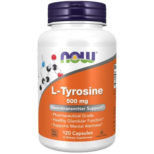 NOW Supplements, L-Tyrosine 500 mg, Supports Mental Alertness, Neurotransmitter Support, 120 Capsules/NOW Suplementos, L-Tirosina 500 mg, Apoya la Alerta Mental, Soporte de Neurotransmisores, 120 Cápsulas