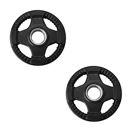 Tayga Par de Discos/Placas de Pesas Olimpicas 5 lbs con 4 Agarres Recubiertos de Caucho/Rubber