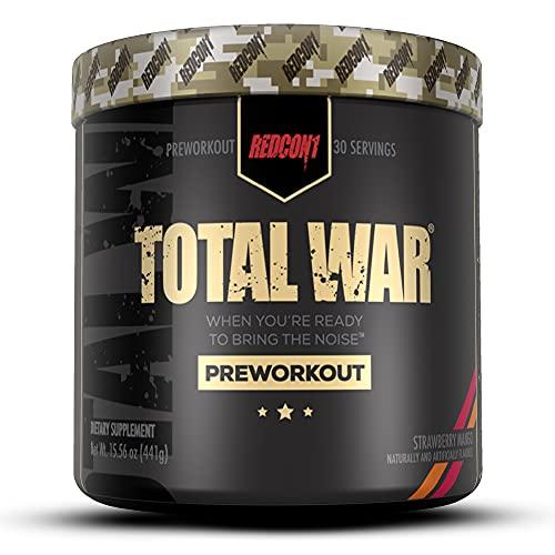Redcon1 Total War - Pre entrenamiento, 30 porciones, impulsar la energía, aumentar la resistencia y el enfoque, beta-alanina, 350 mg de cafeína, citrulina malato, refuerzo de óxido nítrico - Keto Friendly (mango fresa)