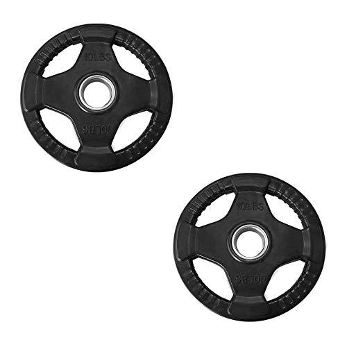 Tayga Par de Discos/Placas de Pesas Olimpicas 10 lbs con 4 Agarres Recubiertos de Caucho/Rubber