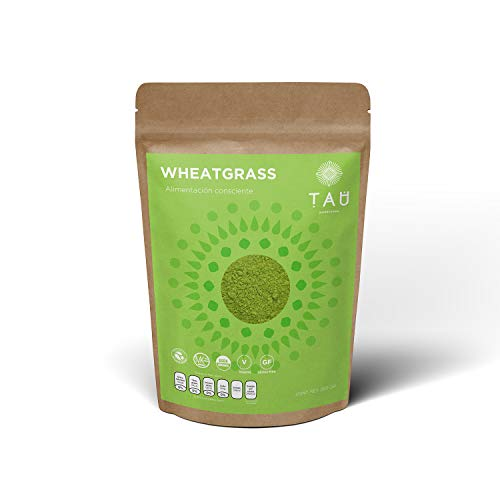 TAU Superfoods Wheatgrass Orgánico 250 gramos, Vegano, Natural, sin GMOs, Keto, sin Gluten