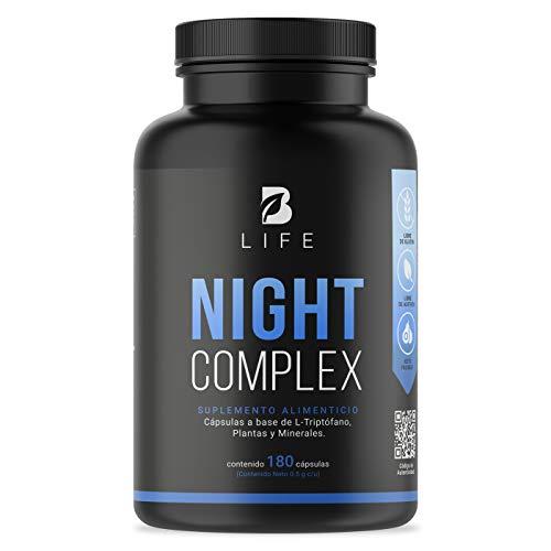 Suplemento para Dormir de 180 Cápsulas con Triptófano, Reishi, Pasiflora, Azahar y Magnesio B Life Night Complex