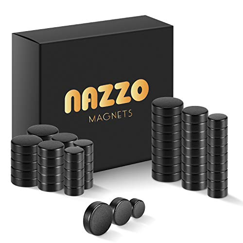 NAZZO Imanes de Nevera para Oficina, Manualidades de Bricolaje y gabinete de Cocina, imanes Redondos Fuertes de 3mm, imanes de botón de Pizarra Blanca, 3 tamaños, 60 imanes pequeños, Negro