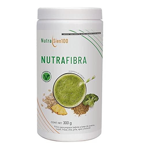 Nutrasien100 NutraFibra   100% ingredientes naturales   Elaborado con: avena, nopal, chía, linaza, brócoli, apio y piña  Delicioso sabor   Sin azúcar añadida  Vegana y Vegetariana  Apto para Keto   300 gr para 20 porciones   Favorece una mejor digestión.