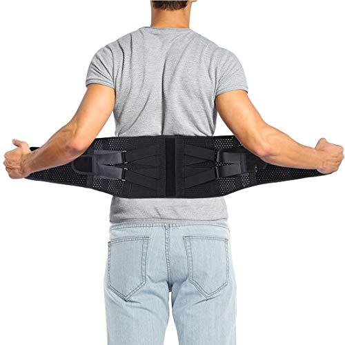 DOACT Faja Lumbar, Cómodo y Transpirable Doble Presurización Cinturón de Apoyo Lumbar con Correas de Compresión Ajustables, Adecuado para Aliviar el Dolor en la Espalda Baja y Ciática(XL)