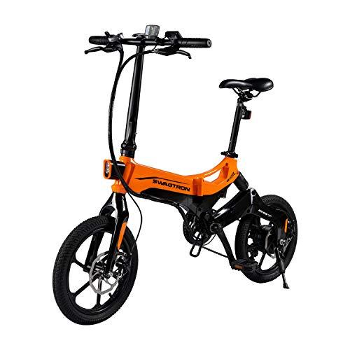 Swagtron Swagcycle EB-7 Elite Plus Bicicleta eléctrica Plegable con batería extraíble, Ruedas de 16 Pulgadas, 7 velocidades