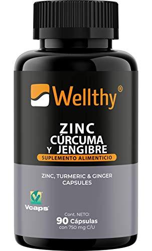 Zinc, Cúrcuma y Jengibre Wellthy (90 caps)