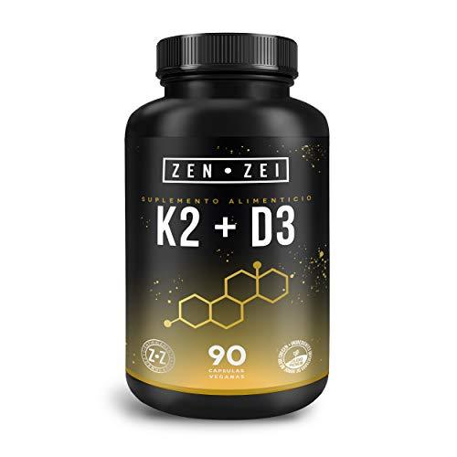 ZEN•ZEI   K2 + D3   Suplemento Inteligente para Mantener Sano y Fuerte Corazón y Huesos — Formulado con: Vitamina K2 y Vitamina D3 — 90 Cápsulas Veganas   Calidad Premium