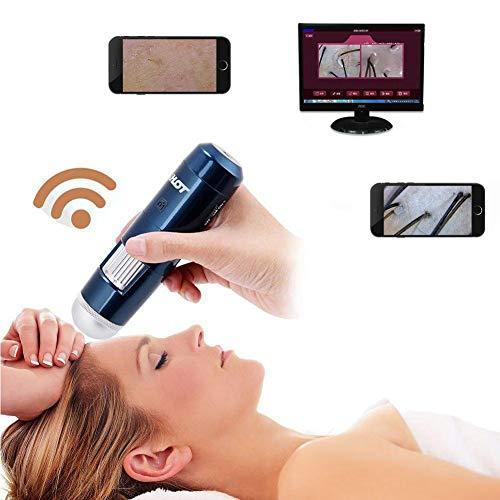 Analizador de piel, 5-200X 200MP Wireless Wifi + USB Skin Detector de cuero cabelludo Microscopio digital para Análisis y pruebas de piel(Azul)