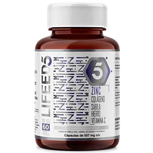 LIFEED Zinc + Colágeno Hidrolizado Vitamina C Hierro Sabila | LF5 Cápsulas 60 Dias | LIFEED5 potencia el efecto del Zinc en tu cuerpo, reforzado con vitaminas y minerales | Natural y sin gluten