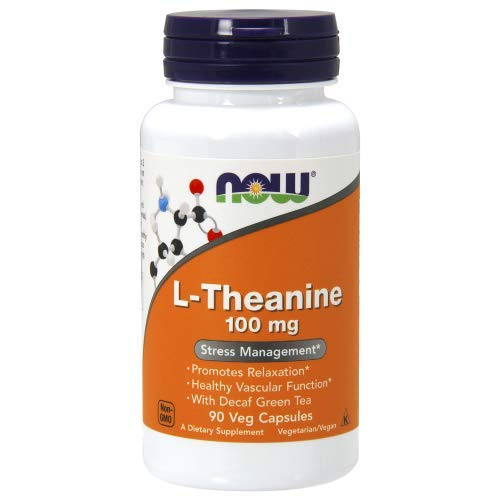 NOW - L-Teanina 100mg 90 Veg Capsules | L-Theanine 100 mg
