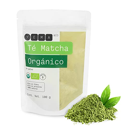 YEMA | Té de Matcha Verde Japonés en Polvo 100% Orgánico 100 g. Super Food, Alto en Fibra, Proteína y Antioxidantes naturales. Cultivado y Cosechado en Japón. Vegano y Sin Gluten