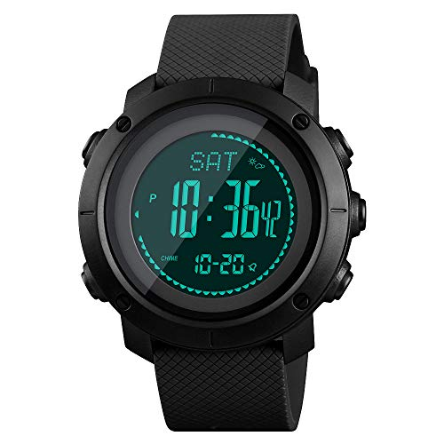 SKMEI Reloj deportivo digital para hombre, resistente al agua, con brújula, cronómetro, podómetro, reloj de pulsera para hombre, 1-negro, 1.9*1.8*0.55 inch,
