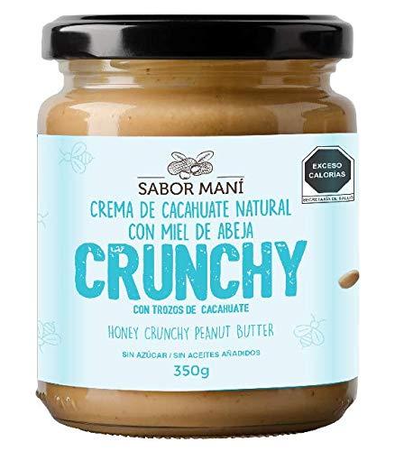 SABOR MANÍ - Crema de cacahuate natural con miel Crunchy 350g