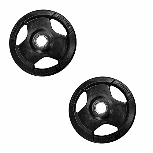 Tayga Par de Discos/Placas de Pesas Olimpicas 22 lbs/10 kg con 3 Agarres Recubiertos de Caucho/Rubber