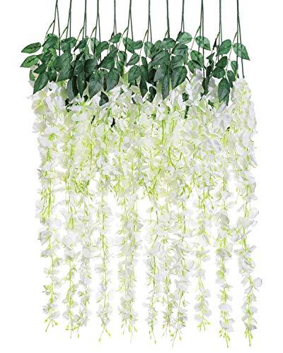 Guirnalda de ratán artificial de seda de glicina, guirnalda de flores falsas para colgar, boda, fiesta, hogar, jardín, al aire libre, ceremonia floral, 3.18 pies, 6 piezas (blanca-2)