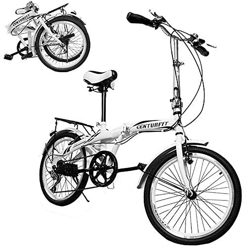 Centurfit Bicicleta Vintage Plegable Rodada 20 R20 Bicicleta Plegable Bicicletas Plegables Bicicleta Vintage Retro 7 velocidades Frenos Vbrake Bici Vintage Retro R 20 Campanilla Vintage Bike Color Blanco (Blanca)