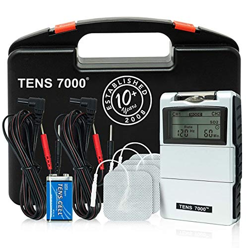 Tens 7000 2nd Edition - Estimulador muscular, unidad digital de electroestimulación transcutánea con accesorios