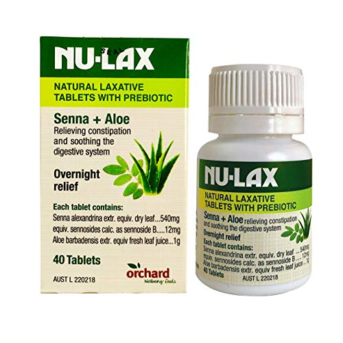 Nulax Tabletas Laxantes Naturales con Senna Prebiótica + Aloe 40 Tabletas