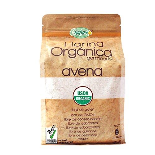 Enature Harina Orgánica Germinada de Avena, 907 g