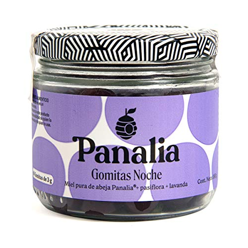 Gomitas Panalia Noche, 100% Natural con Miel de Abeja +Extracto de Lavanda, 60 gomitas