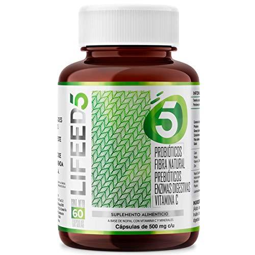 LIFEED Probioticos 50 Billones + Prebioticos, Enzimas Digestivas, Fibra y Vitamina C   LF5 Para 60 días   Sistema Digestivo e Inmune   PRE & PROBIOTIC para Mujer y Hombre   Life Probiotics - Lactobacilos Lactobacillus