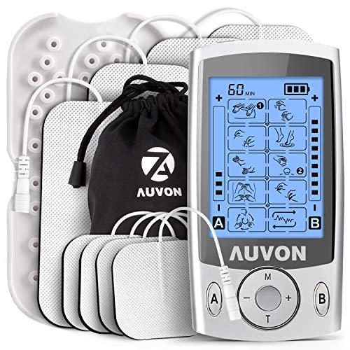 AUVON Máquina estimuladora muscular de doble canal TENS unidad con 20 modos, almohadillas de electrodo de unidad TENS de 2 pulgadas y 2 x 4 pulgadas