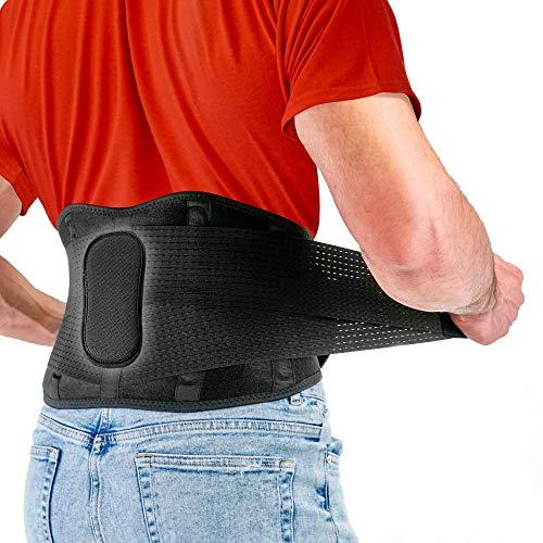 Fitgame - Cinturón de apoyo lumbar para aliviar el dolor   Ciático, hernia de disco y escoliosis para hombres y mujeres - Correas ajustables y almohadilla lumbar extraíble