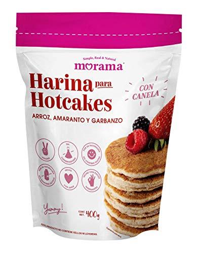 Morama, Harina para Hotcakes clásicos hecha con harina de arroz, amaranto y garbanzo sin conservadores y vegano, 400 gramos