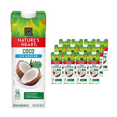 Nature's Heart Bebida de Coco sin Azúcar, 946 ml, 12 Piezas