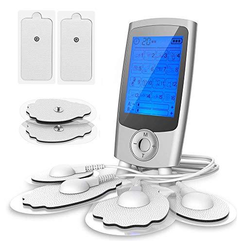 TENS/EMS Masajeador Muscular Digital y Electroestimulador de Pulso Recargable con 16 Modos y 8 Electrodos Pads FDA, Canales A/B Ideal para Masaje y Relajar Tensión,Dolor,Estrés