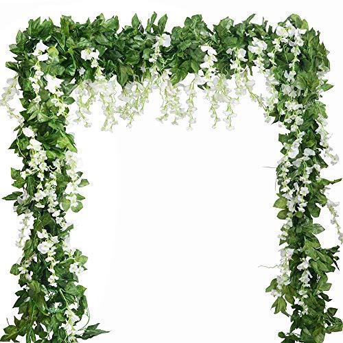 Guirnalda de glicinas artificiales de seda, 5 piezas, 2,2 m, guirnalda de hojas de hiedra, glicina, flores artificiales para colgar, plantas verdes para guirnaldas de boda, arcos, decoración del hogar (blanco)
