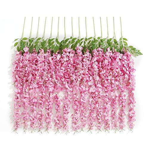 10 guirnaldas artificiales Huata de 1 m de seda, glicina, vid, ratán, decoración colgante para bodas