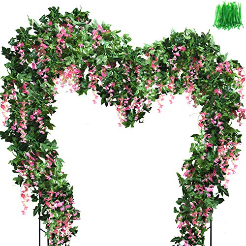 OrgMemory Guirnalda de glicinas, flores falsas, (6 piezas, 85 pulgadas cada una, 100 unidades de bridas para cable), flores colgantes para decoración de bodas, fiestas, jardín (flores de glicina rosa)