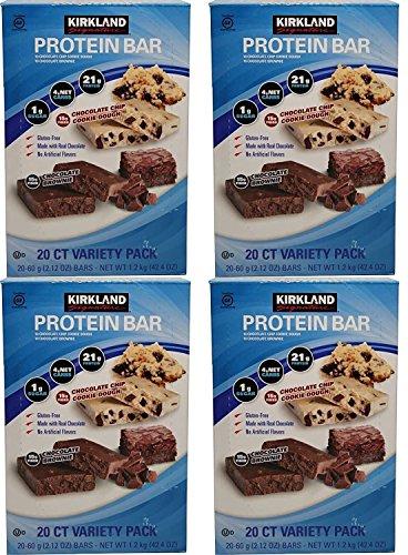 Protein Bar Kirkland Signature–Delicioso chocolate Variedad de energía (20unidades) Total: 10Chip Cookie Dough, 10chocolate Brownie), Chocolate, 15g real de fibra última intervensión de gluten 2.12oz